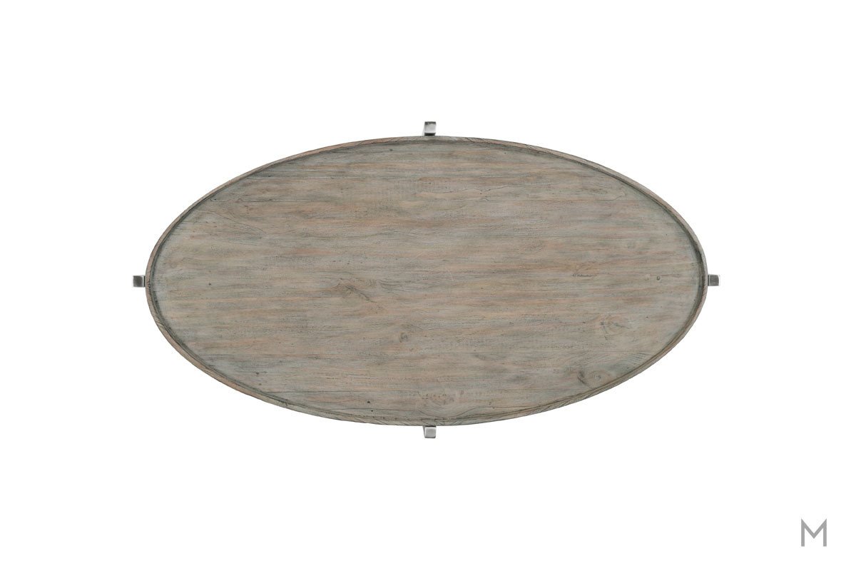 Platform Oval Coffee Table with Weathered Gray Wood Finish