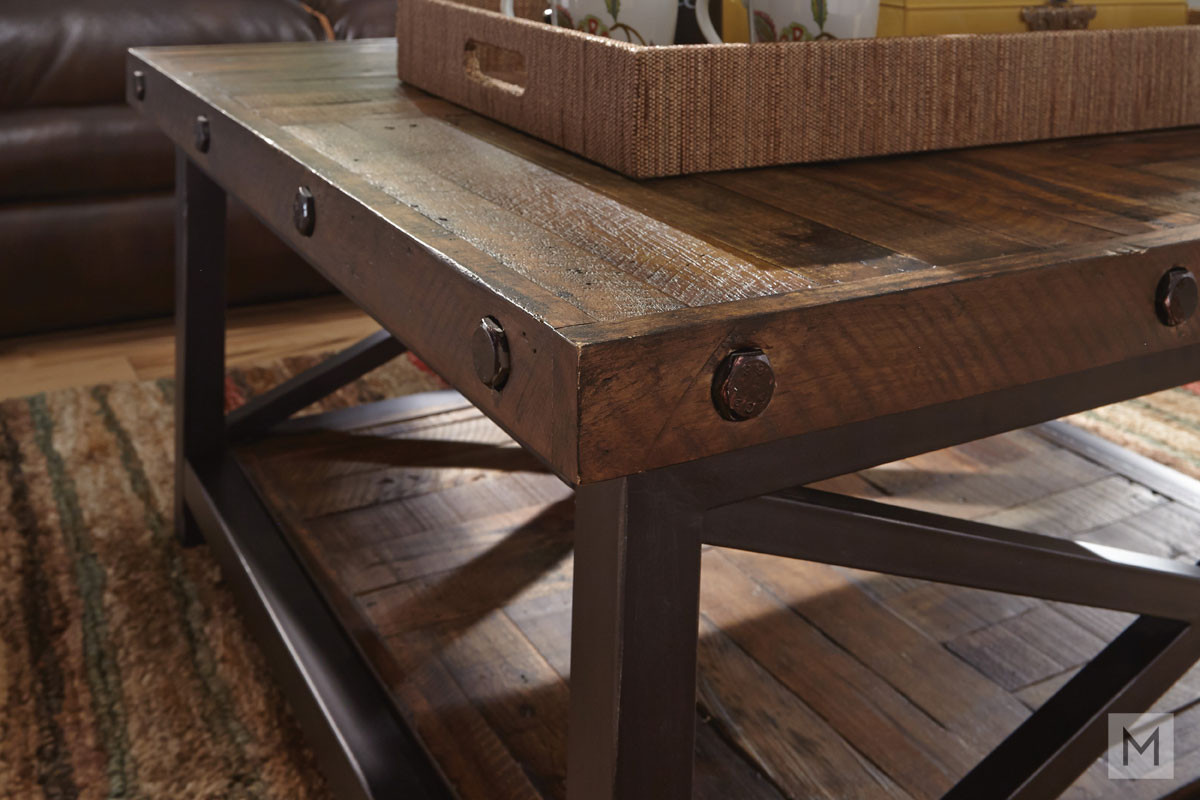 Carpenter Square Coffee Table with Reclaimed Wood