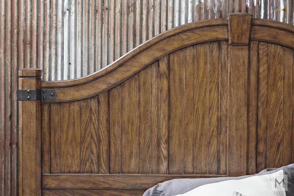Heartland Falls King Panel Bed featuring Rustic Plank Details and a Bench Footboard