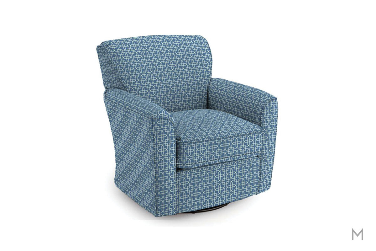 Kaylee Swivel Barrel Chair in Cobalt