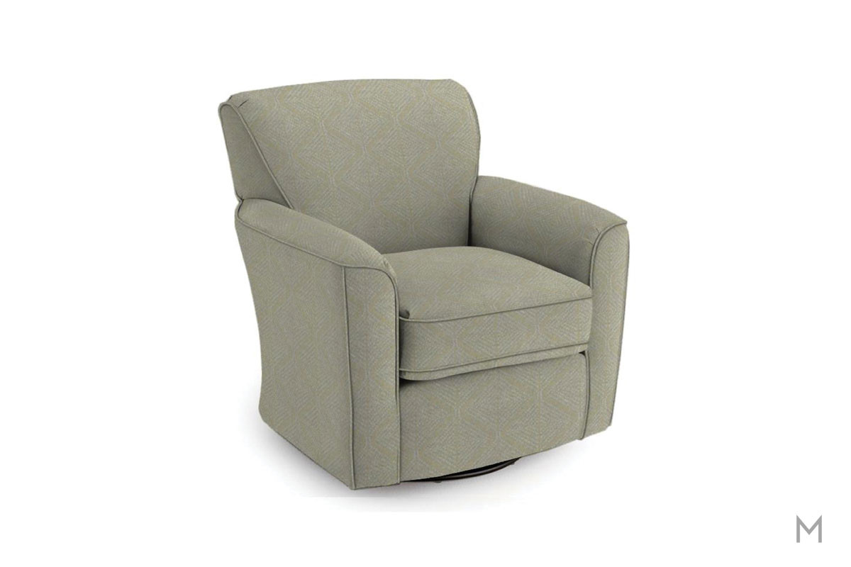 Kaylee Swivel Barrel Chair in Gunmetal
