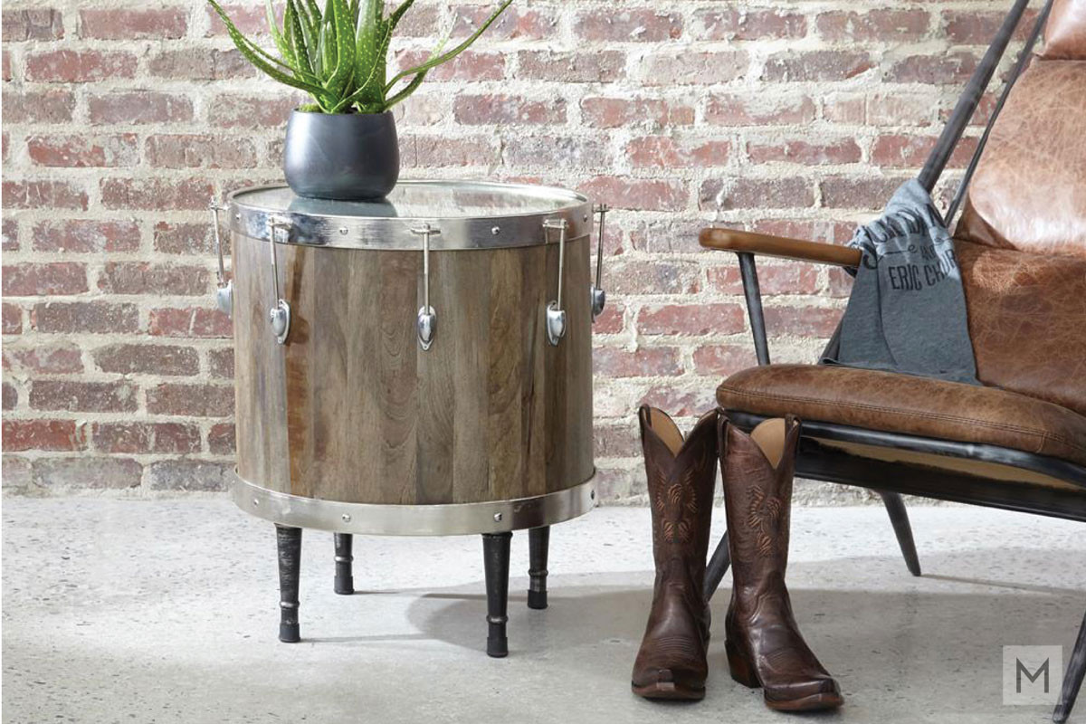 Craig Drum Accent Table with Cast Iron Legs