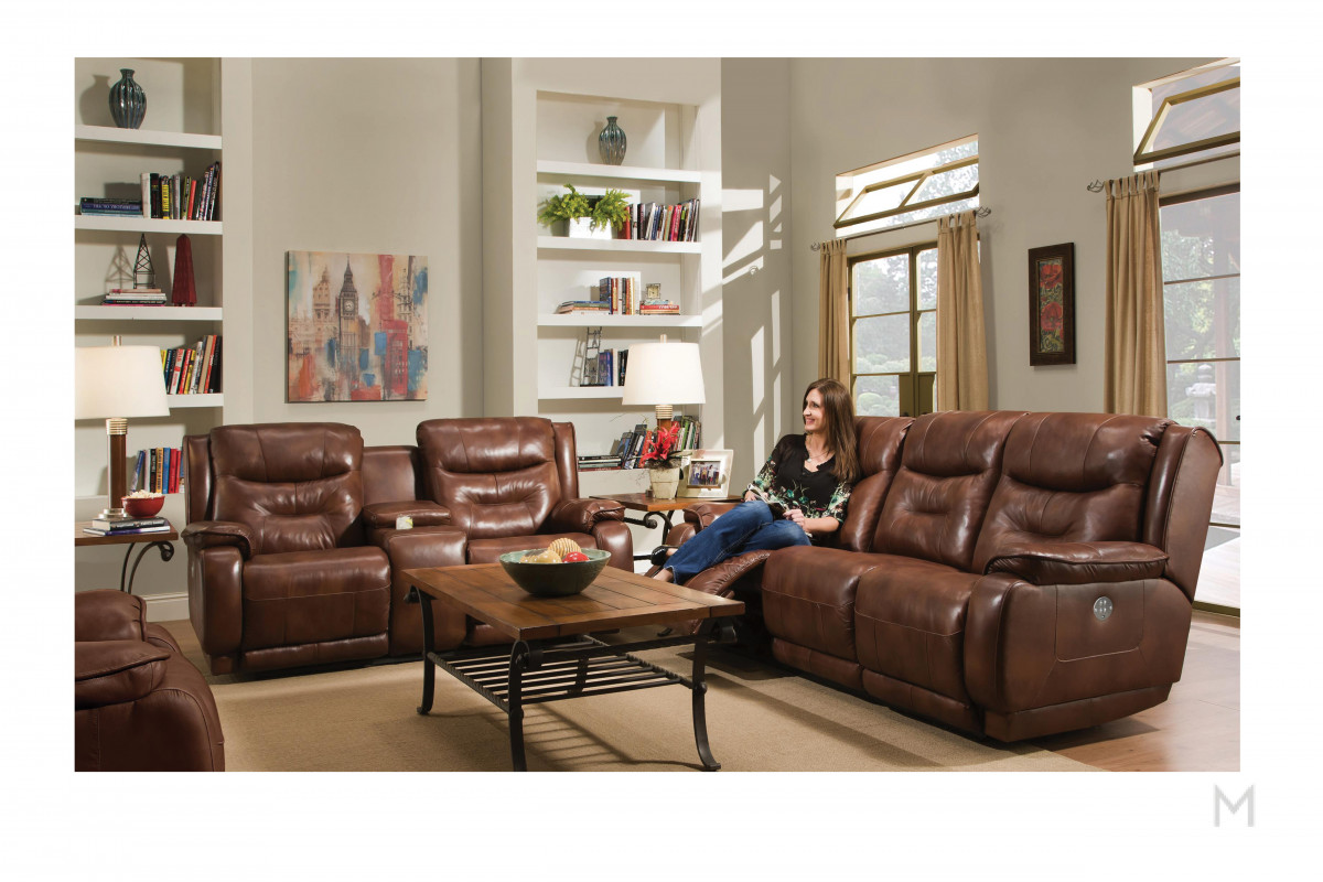 M Collection Crescent Sofa with Power Capabilites