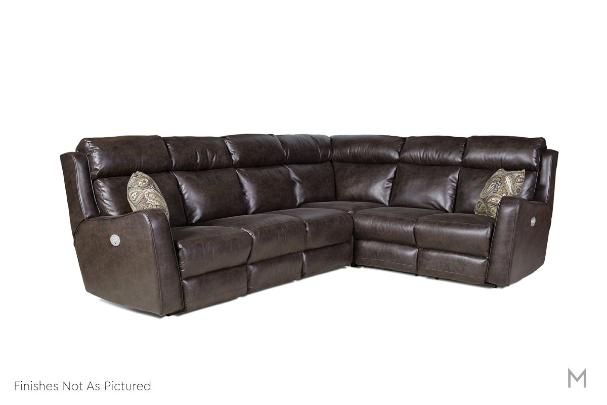 M Collection First Class Power Reclining Leather Sectional in Gray Leather with Power Headrest and Power Recline
