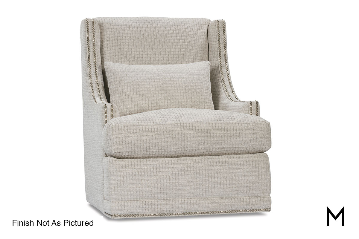 Superb Lindsay Swivel Chair With Kidney Pillow And Nailheads Bralicious Painted Fabric Chair Ideas Braliciousco