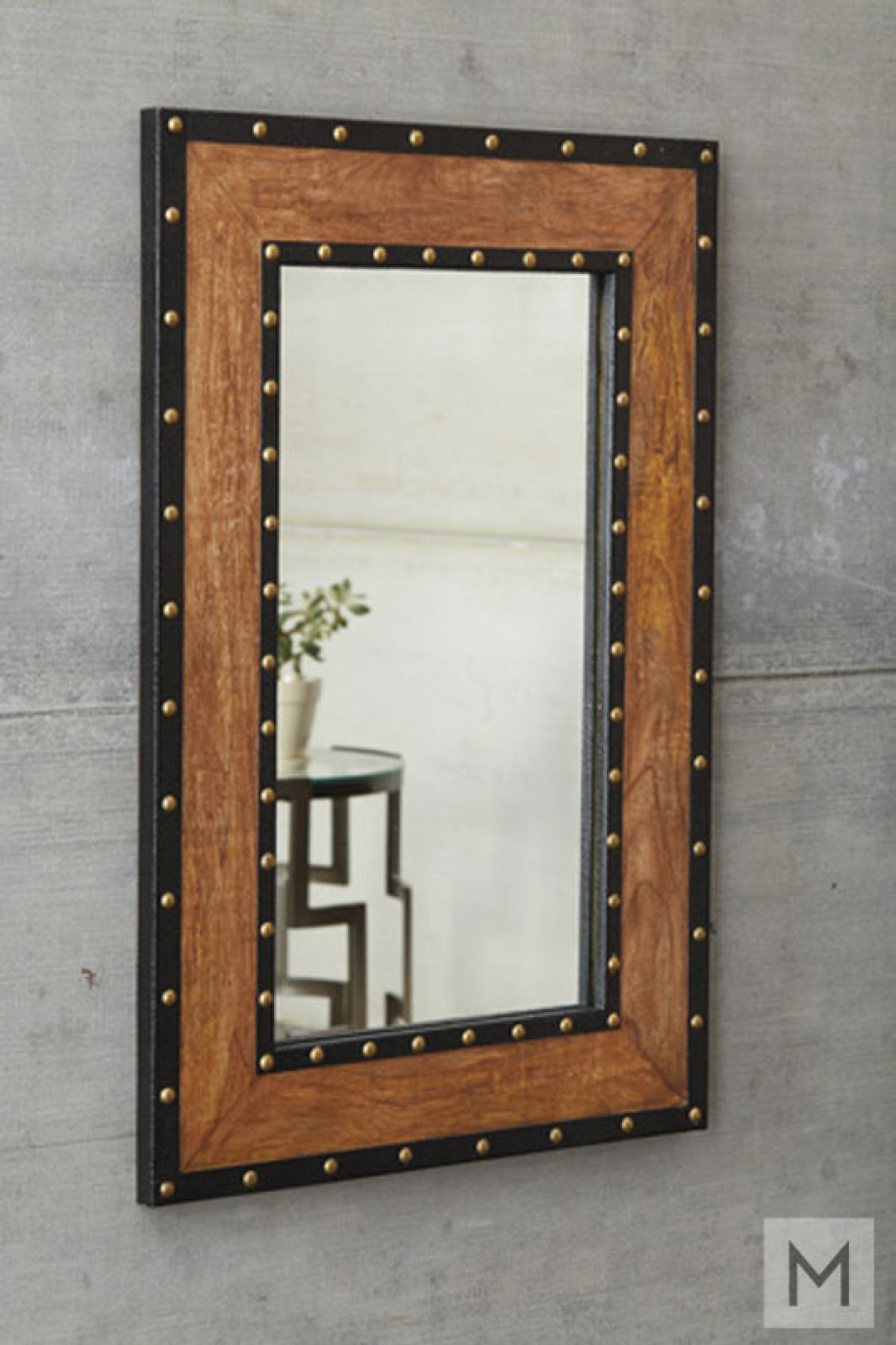 Burnt Wood Wall Mirror with Rivet Trim