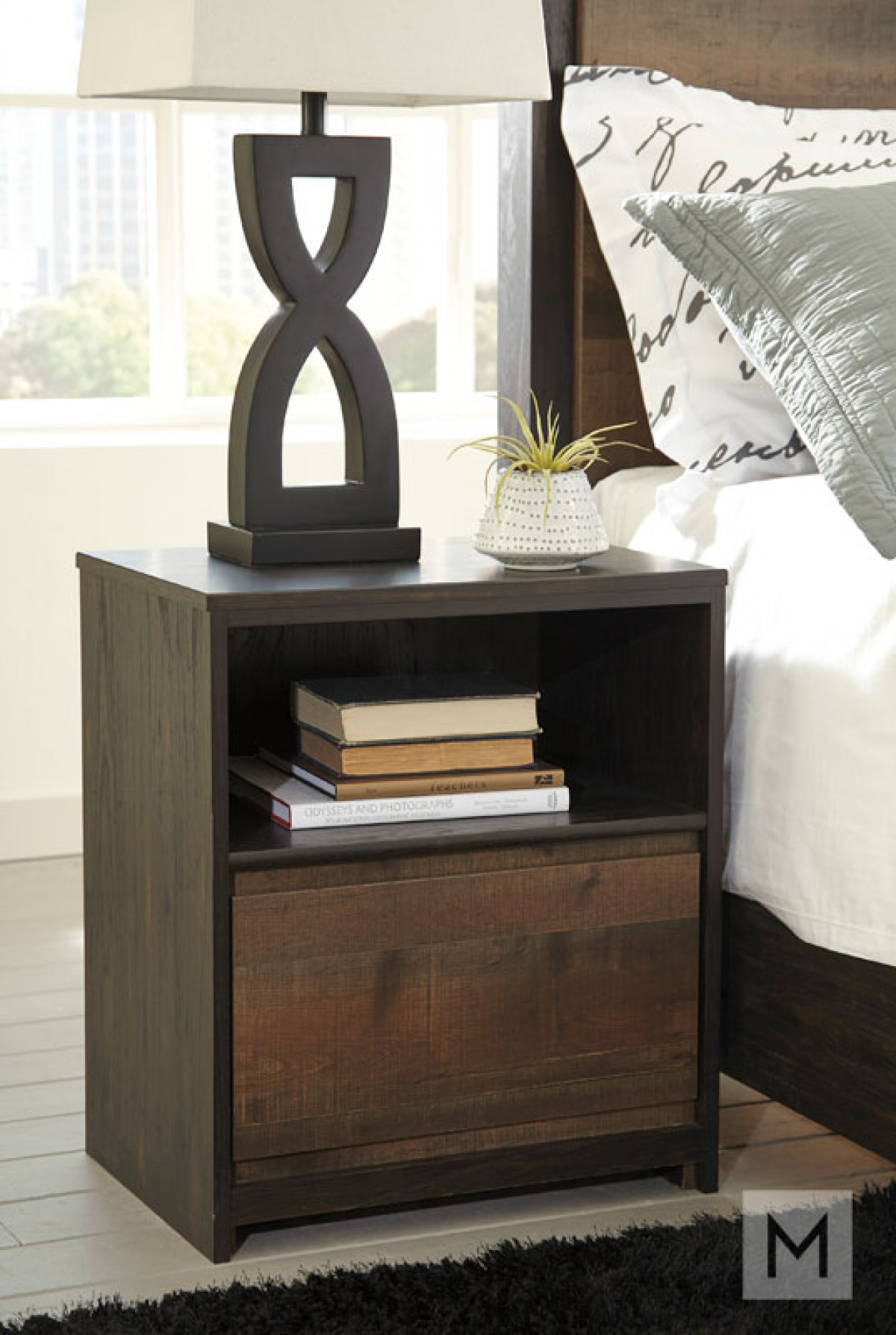 Windlore One Drawer Nightstand in Dark Brown with a Rustic Finish
