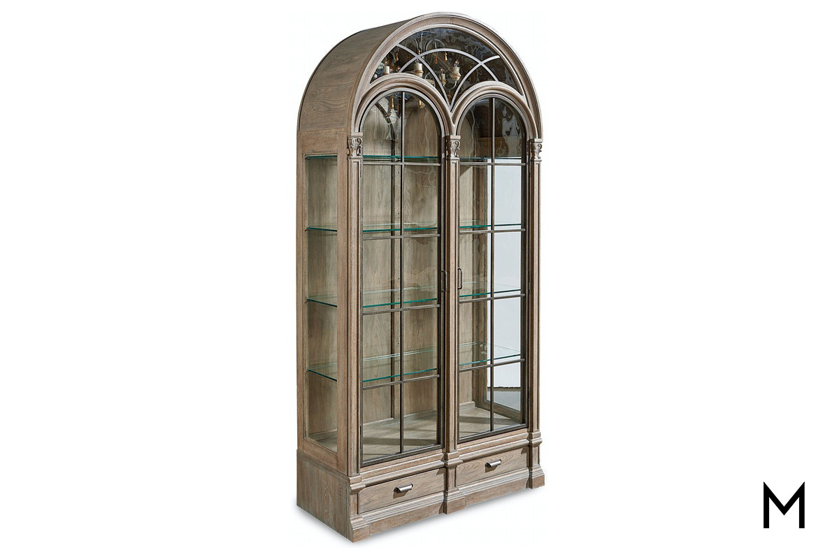 Grand Arched Curio Cabinet With Chandelier