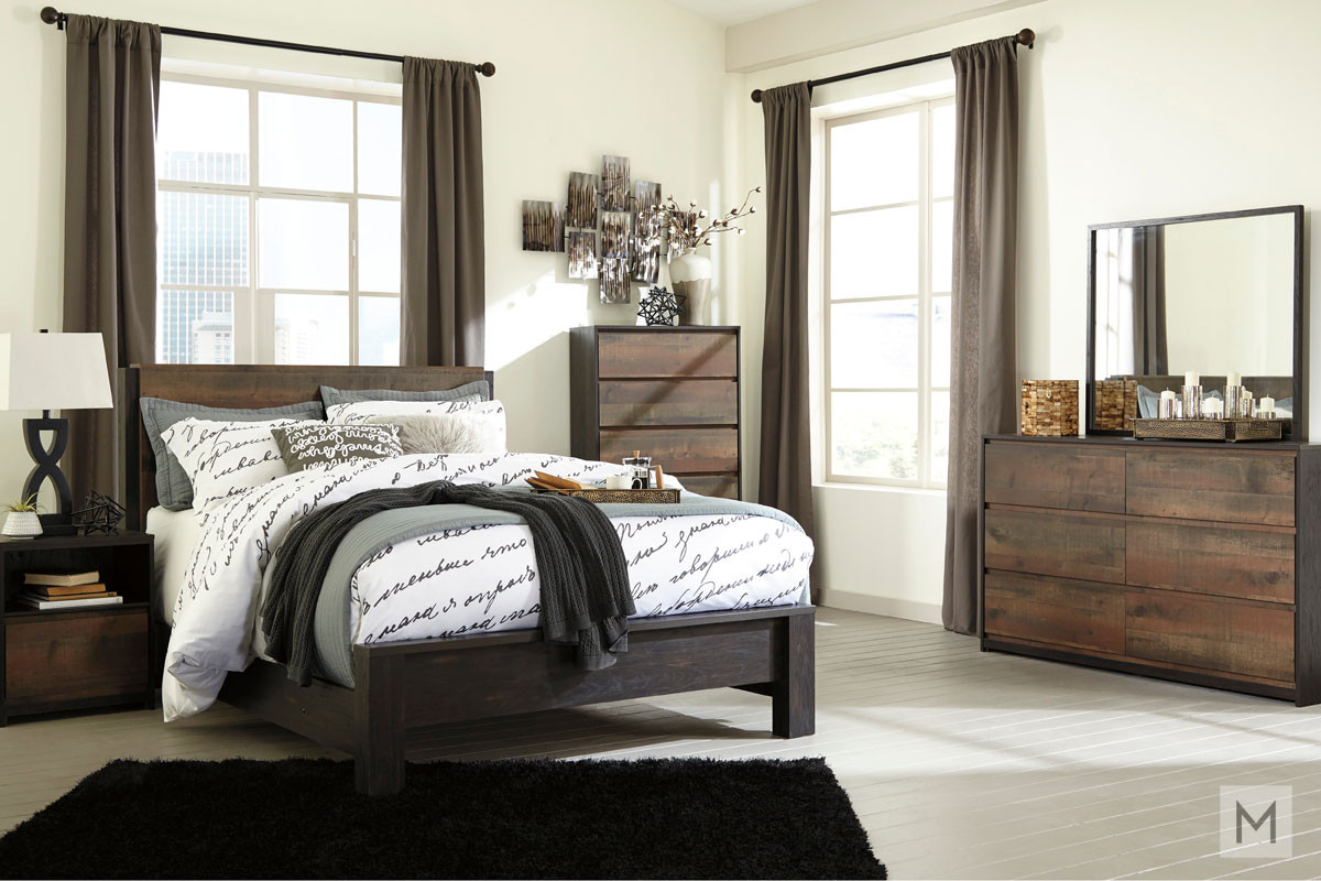 Windlore Queen Panel Bed in Dark Brown in a Rustic Finish