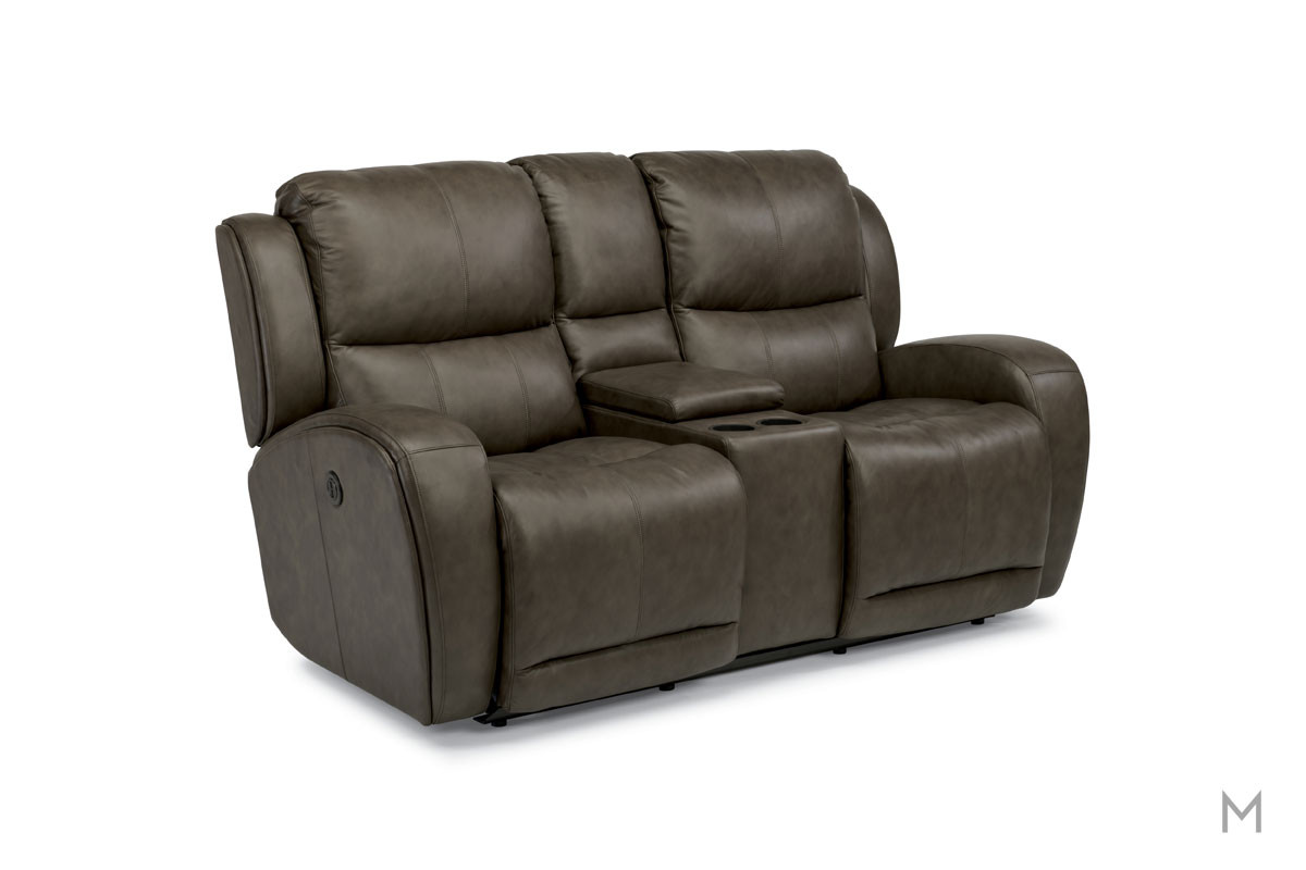 Chaz Leather Power Reclining Loveseat in Brown Leather