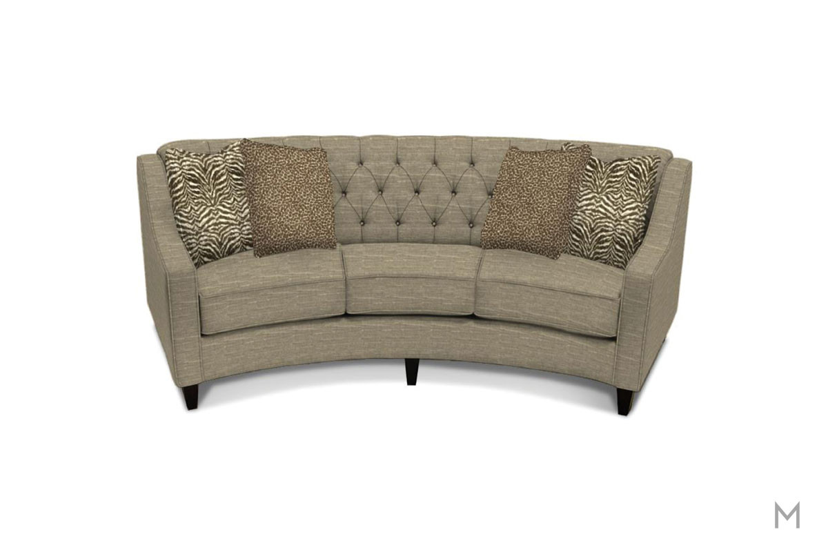 Finneran Conversation Sofa in Hannigan Fog Gray with Tufted Buttons