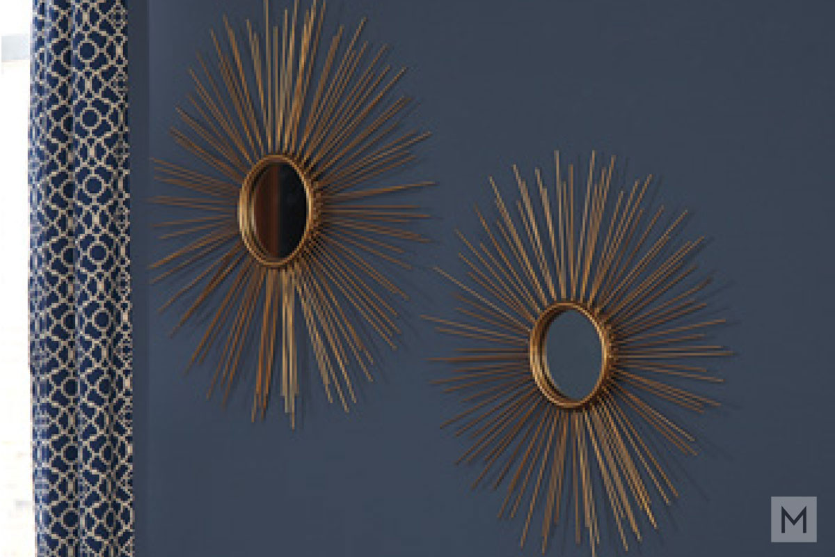 Sunburst Wall Mirror Set in Antique Gold Metal