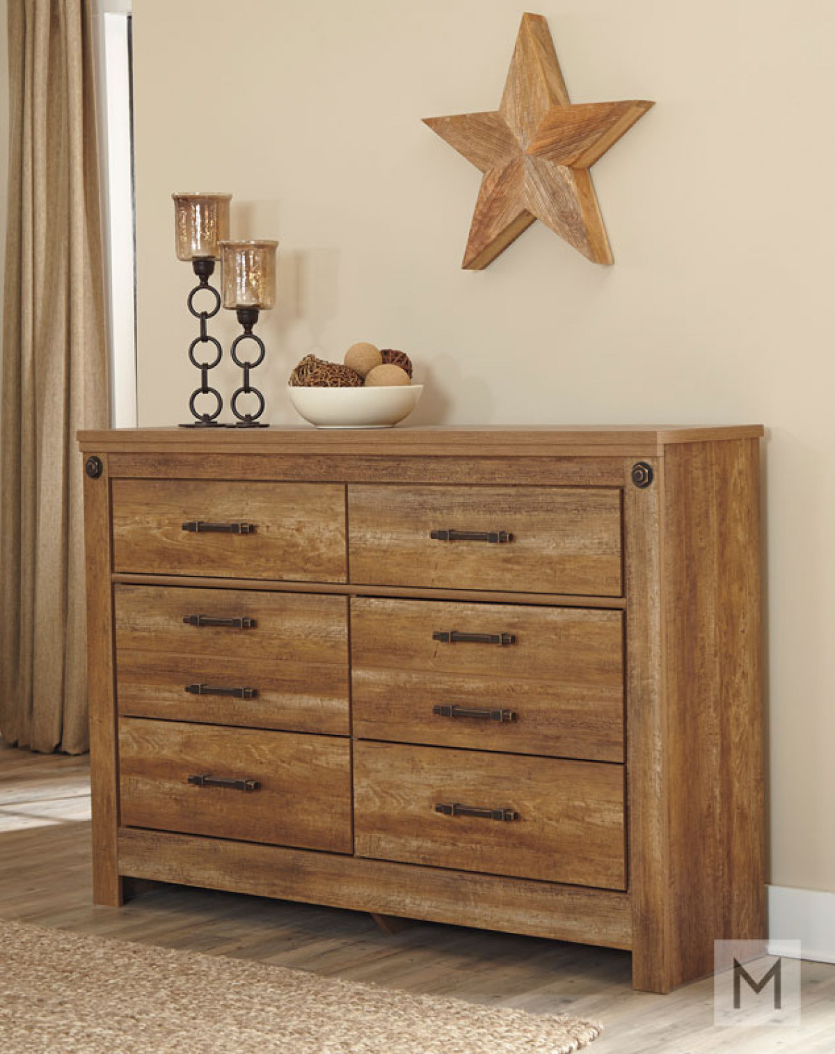 Ladimier Six Drawer Dresser in Golden Brown with a Rustic Finish
