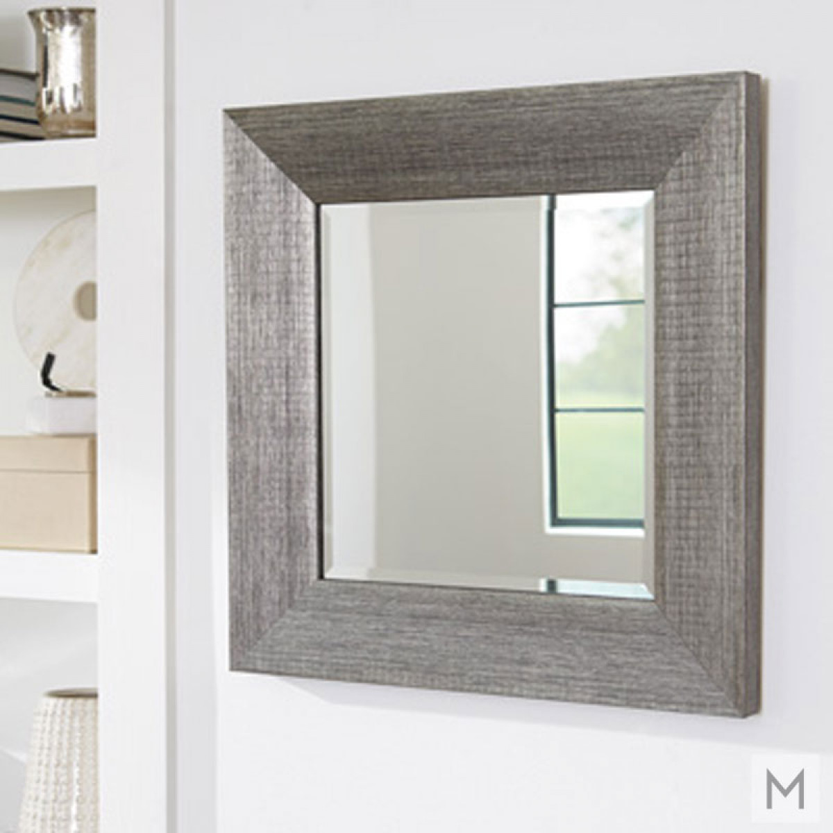 Contemporary Square Wall Mirror in Silver