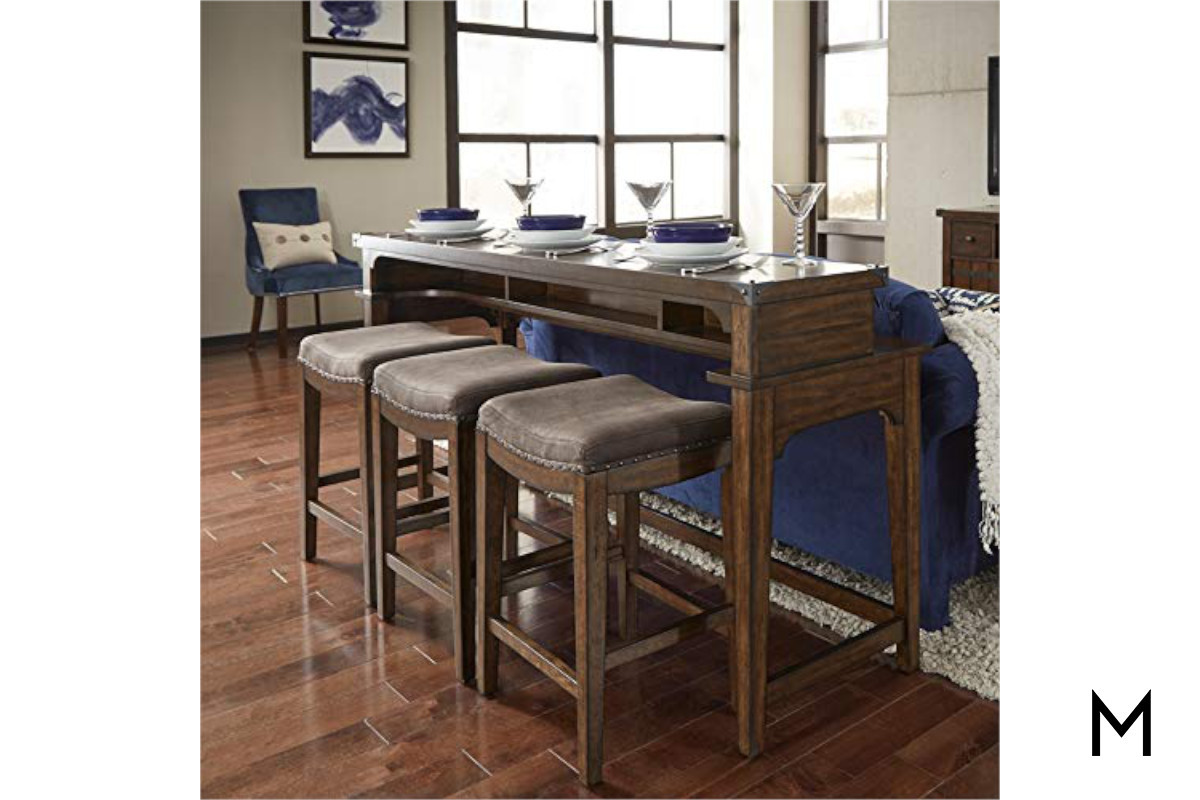 Incredible Aspen Console Table With Three Stools Gmtry Best Dining Table And Chair Ideas Images Gmtryco