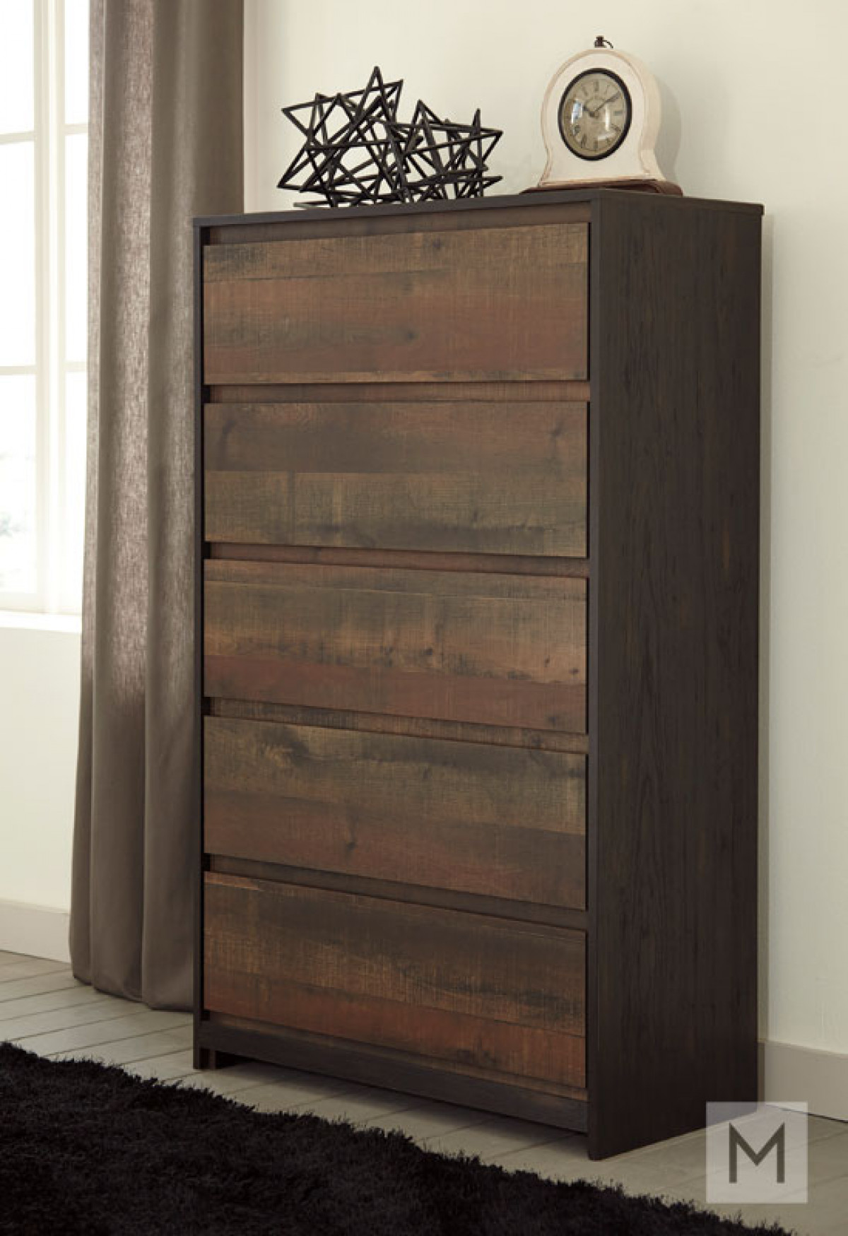 Windlore Five Drawer Chest in Dark Brown with a Rustic Finish