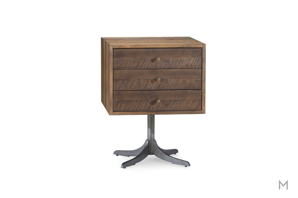 Epicenters Williamsburg Pedestal End Table featuring Reclaimed Wood and Metal Base