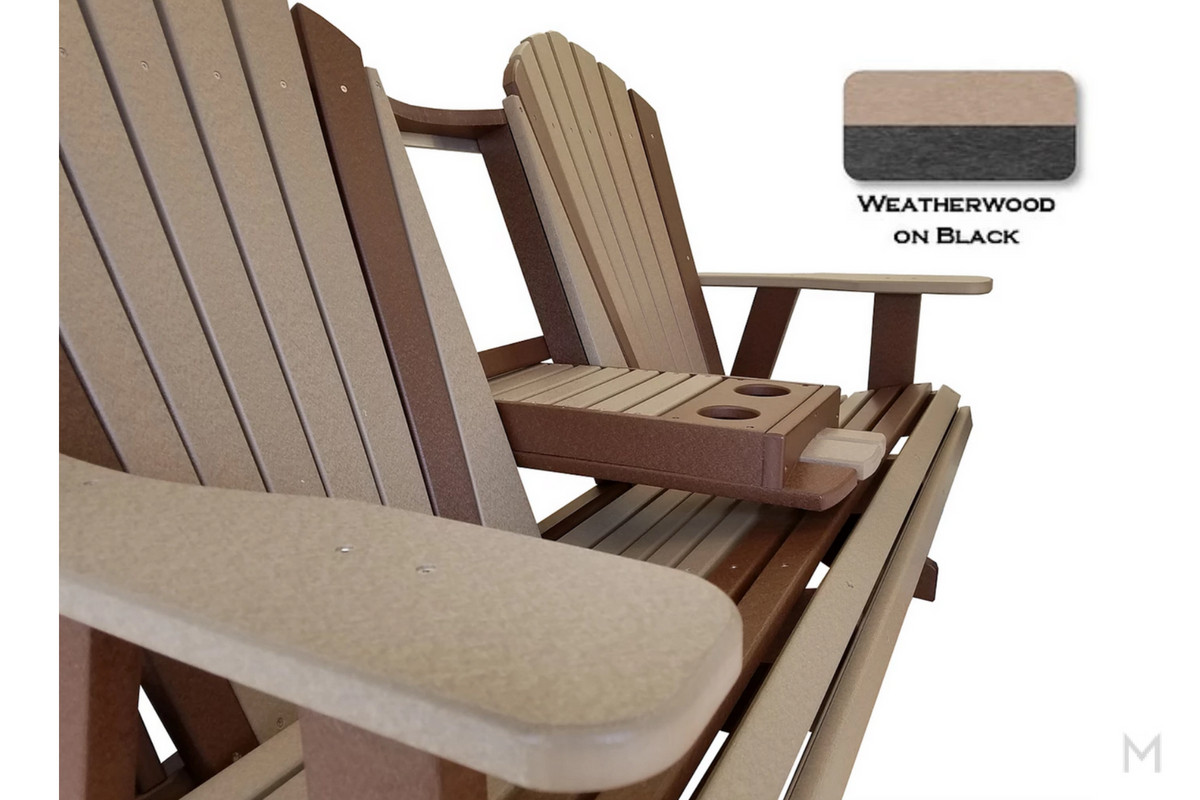 Weatherwood with Black Loveseat Glider with Cupholders