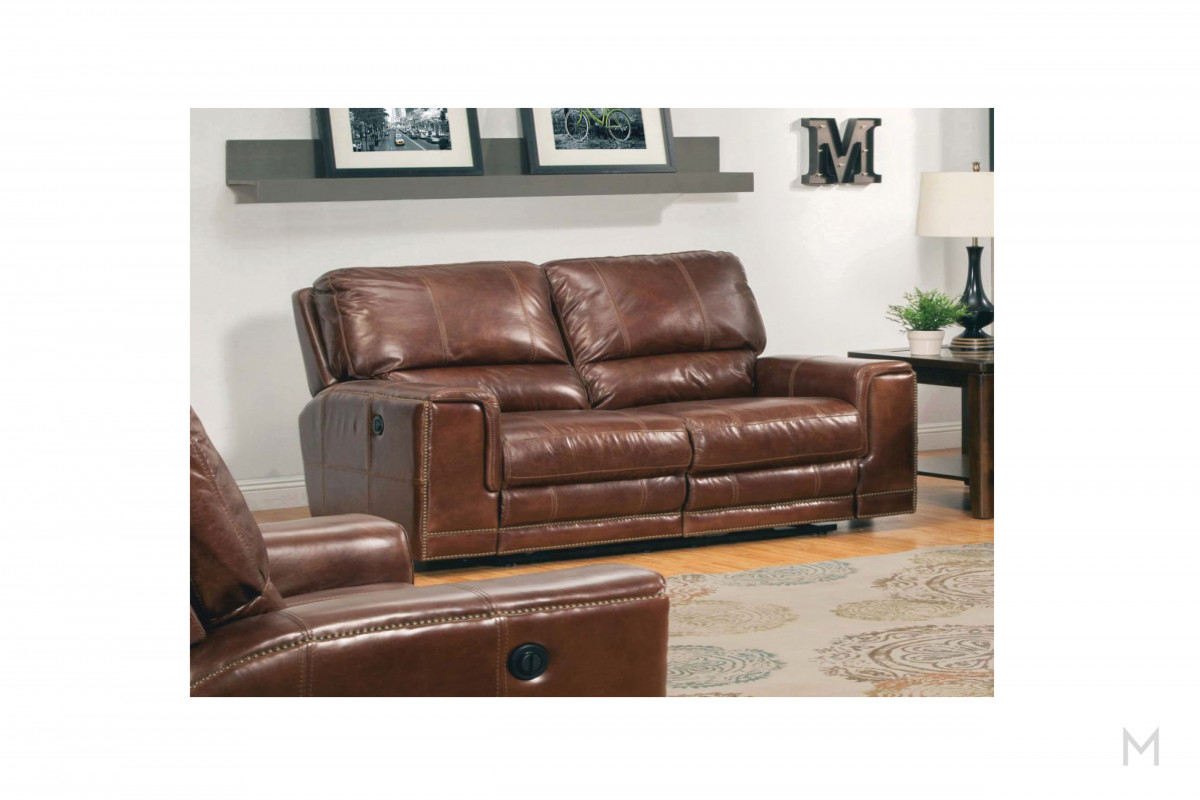 M Collection Maple Dual Power Reclining Loveseat with Removable Backs