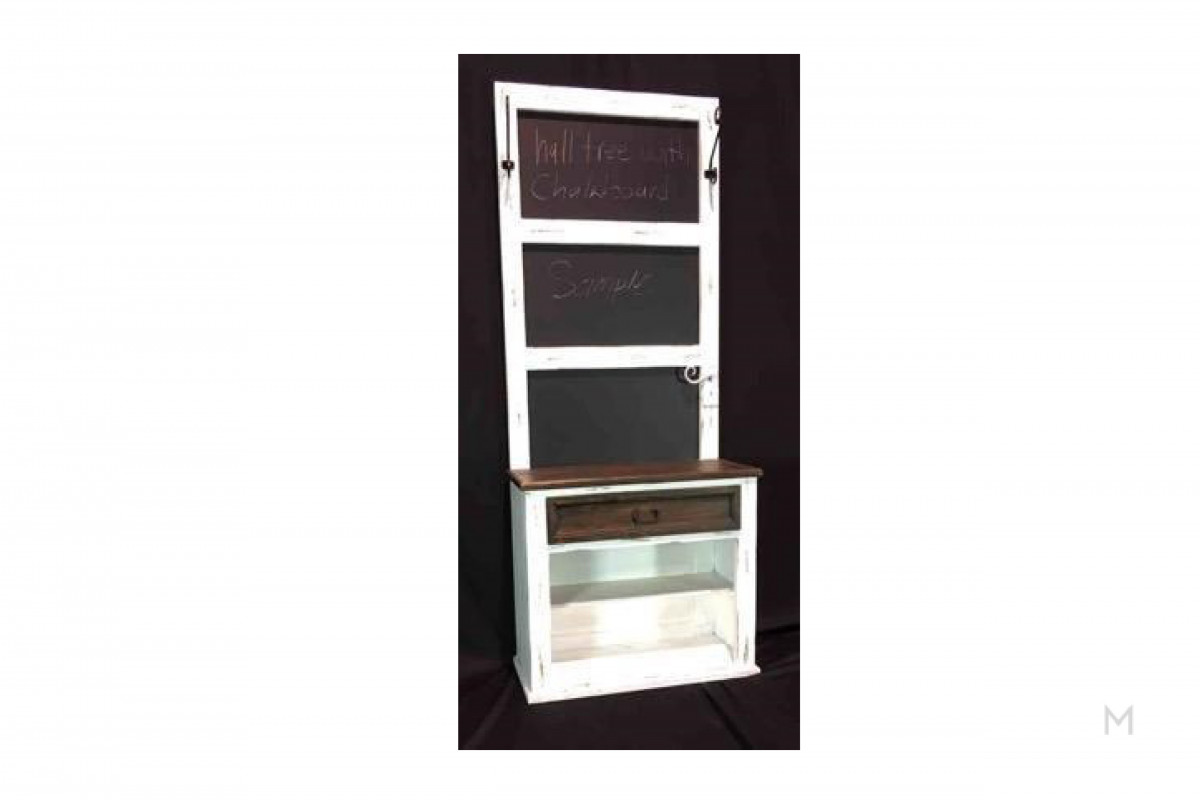 M Collection Hall Tree Accent Storage Chalkboard