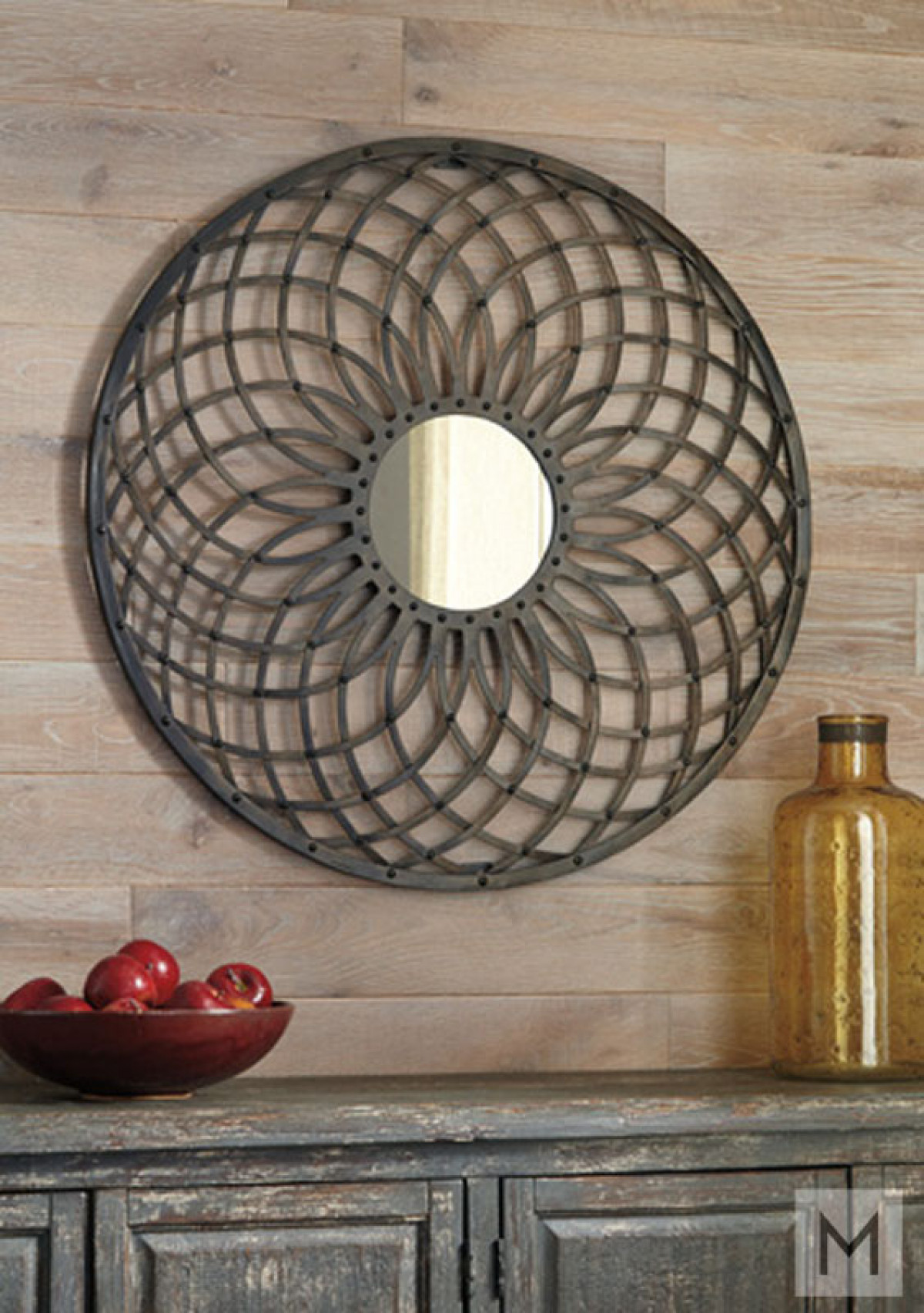 Bronze Geometric Wall Mirror in Burnished Bronze Metal