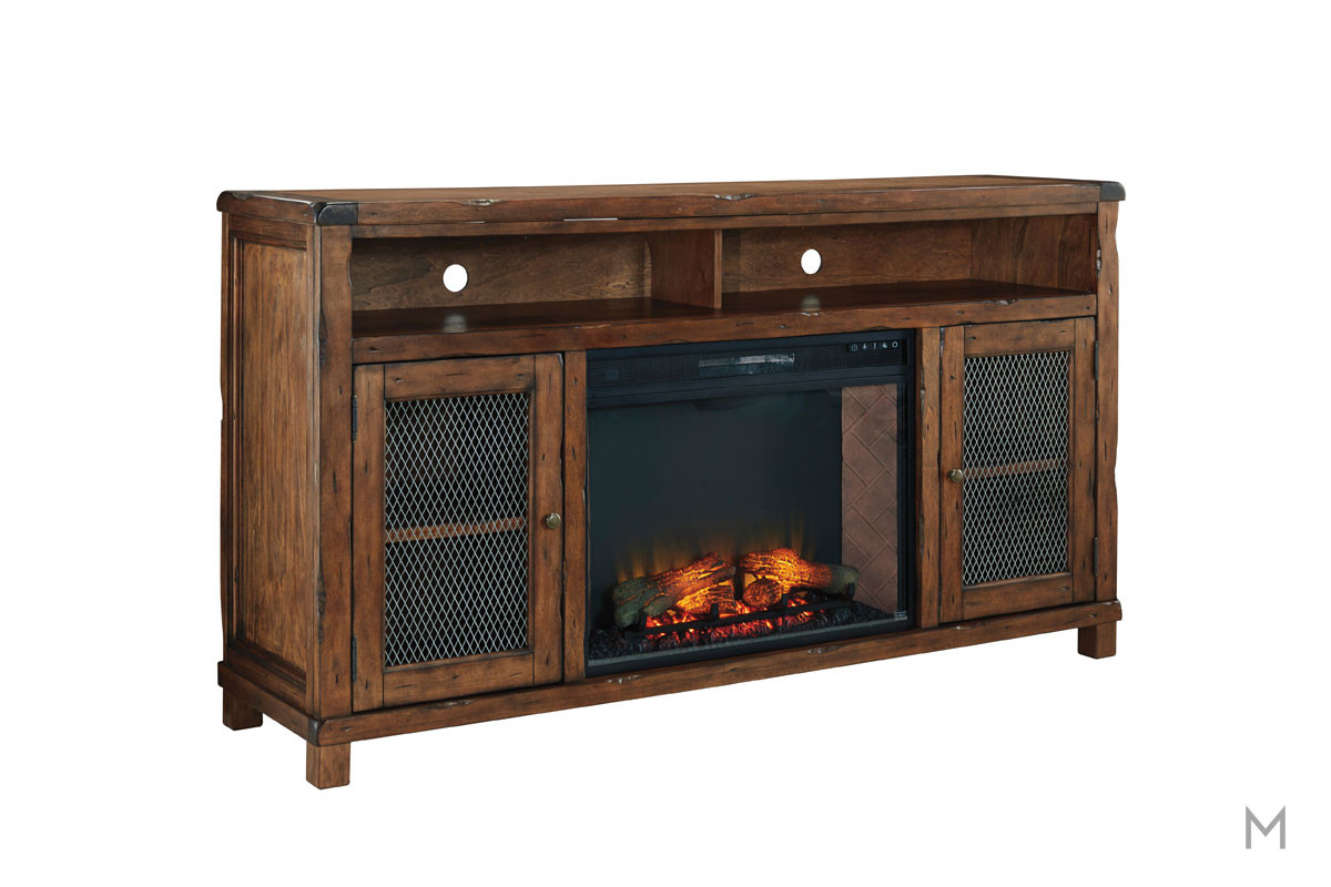 Tamonie TV Stand with Fireplace with Doored Storage