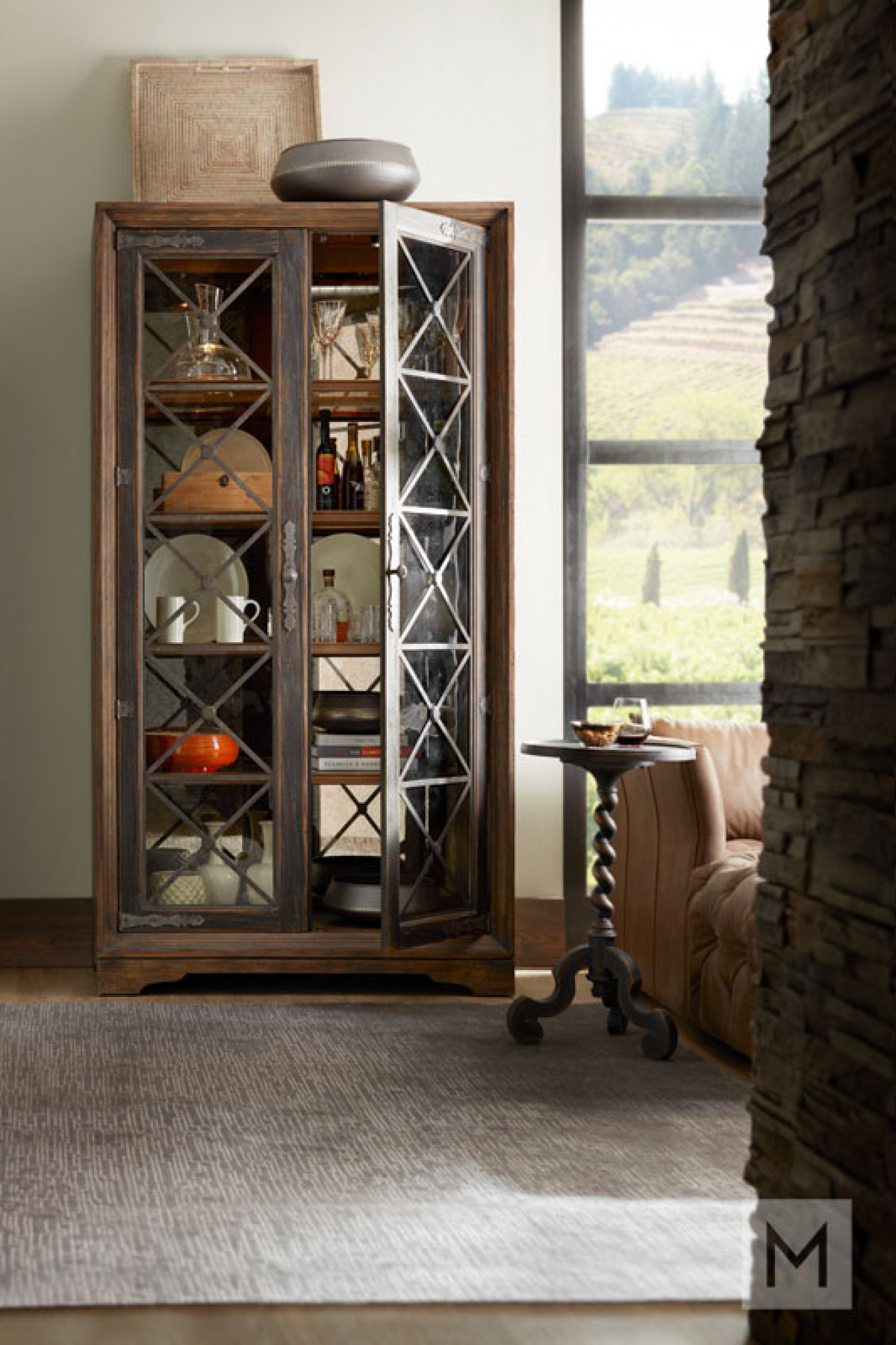 Sattler Display Cabinet featuring Seeded Glass Doors