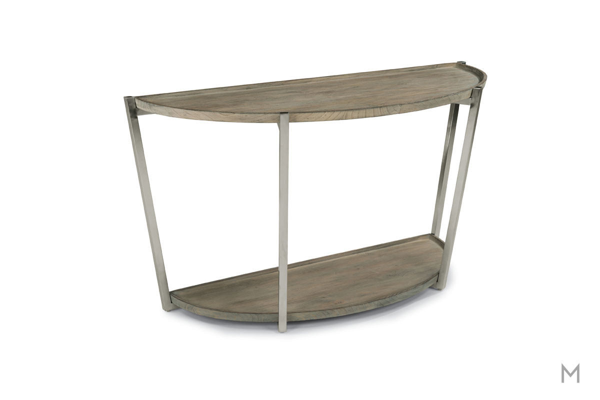 Platform Demilune Console Table with Weathered Gray Wood Finish