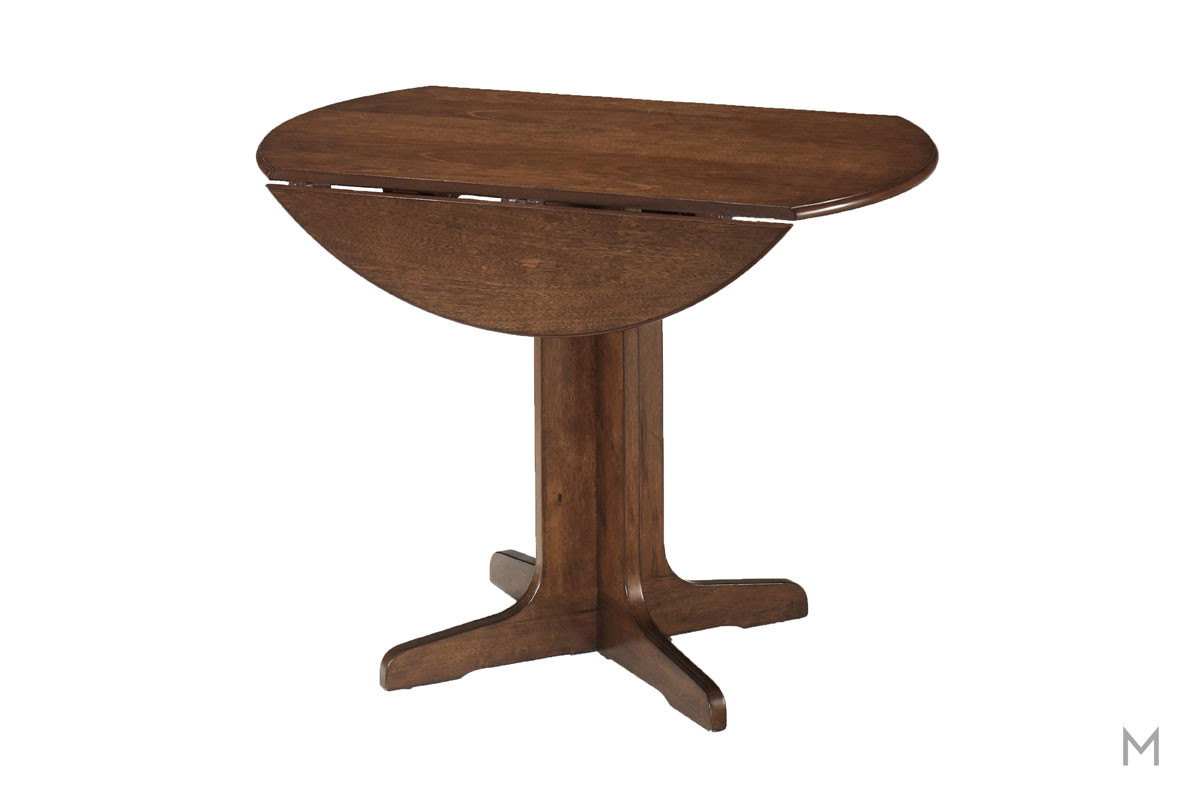 "Stuman 40"" Round Drop Leaf Dining Table in Medium Brown"