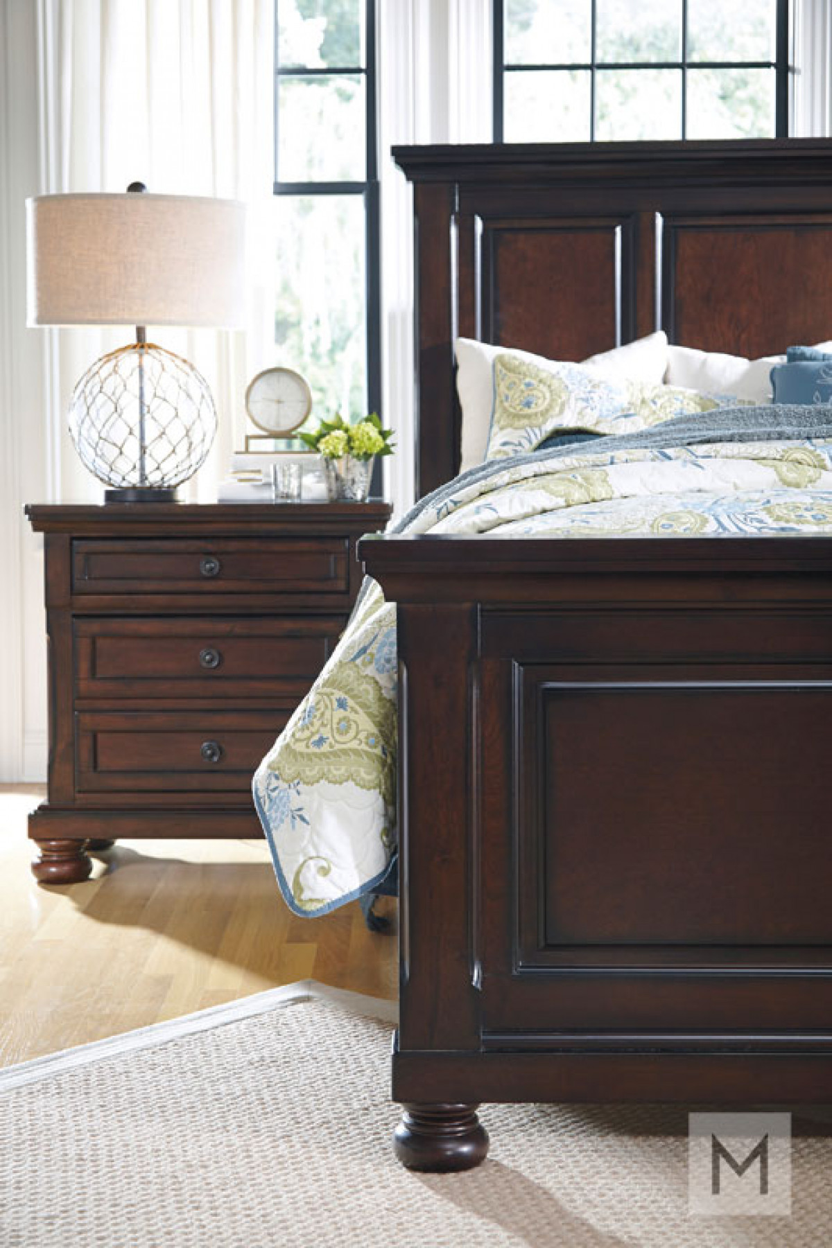 Porter Two Drawer Nightstand in Rustic Brown