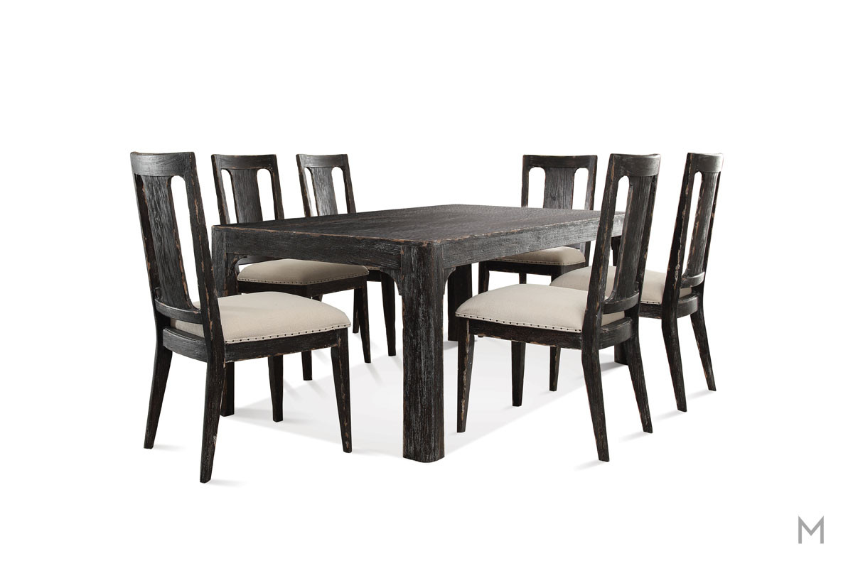"Bellagio 76"" Rectangular Dining Table in Weathered Black"