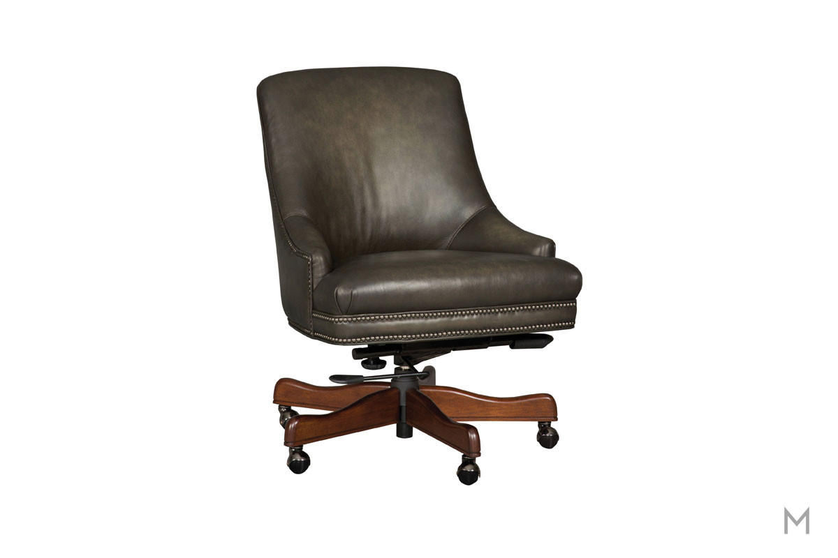 Heidi Executive Swivel Tilt Desk Chair with Nailhead Trim
