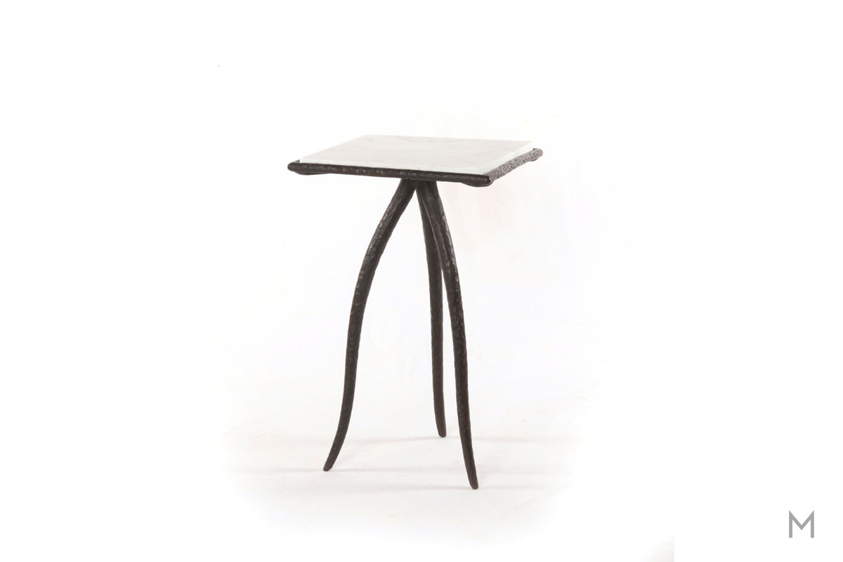 Slash Square Side Table made of Iron and Marble