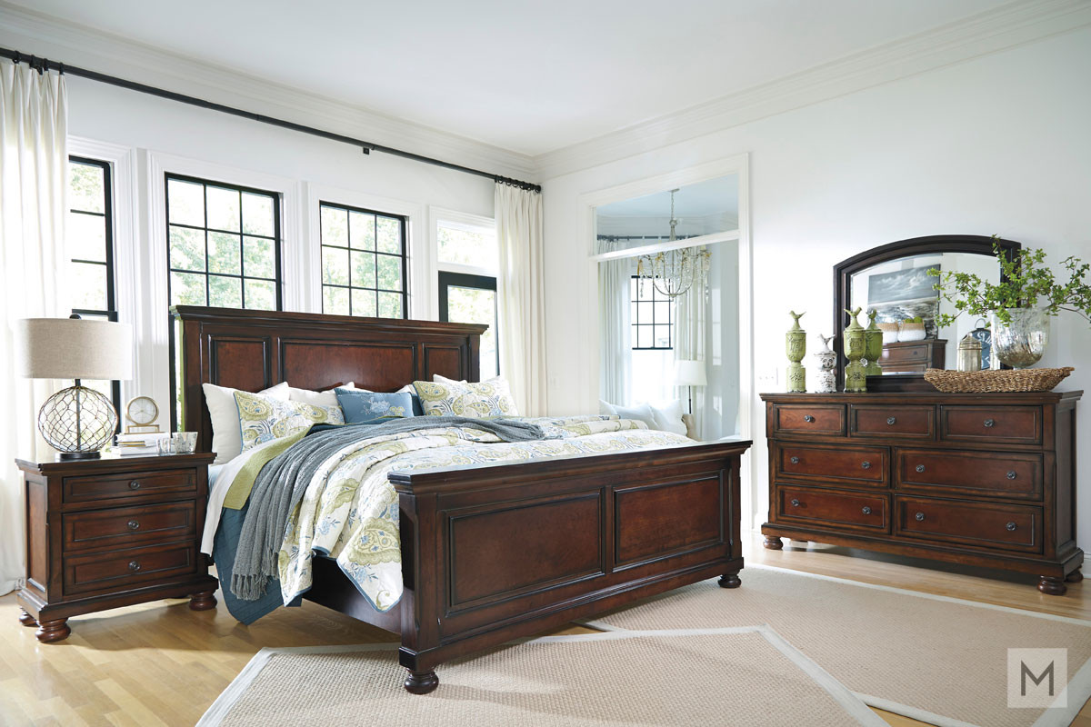 Porter Queen Panel Bed in Rustic Brown