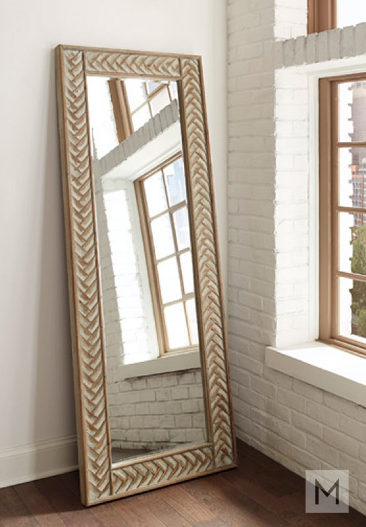 Chevron Weave Full Length Accent Mirror in Whitewashed Wood