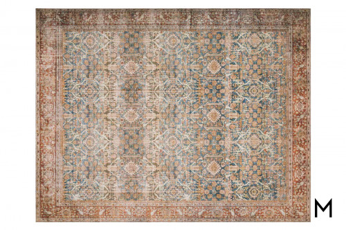 Layla Area Rug 5'x7' in Ocean and Rust