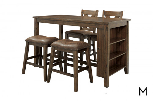 Chaleny 5 Piece Dining Set with Shelf Storage