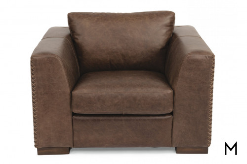 Leather Accent Chair in Chocolate Brown