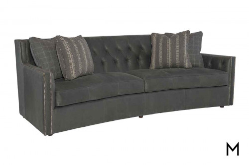Candace Leather Conversation Sofa in Gray with Button Tufted detailing