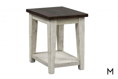 Lancaster Chairside Table in Weathered Bark Top and White Base