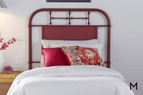 Vintage Metal Headboard - Twin in Red