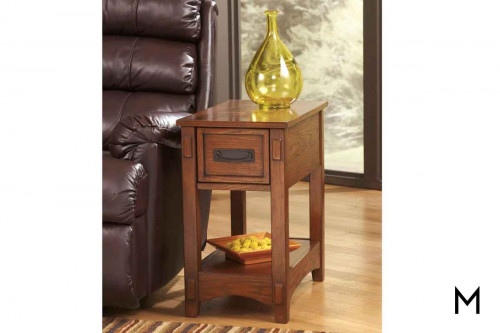 Breegin Chairside Table in Medium Brown Mission style