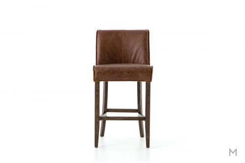Aria Counter Stool in Brown Leather