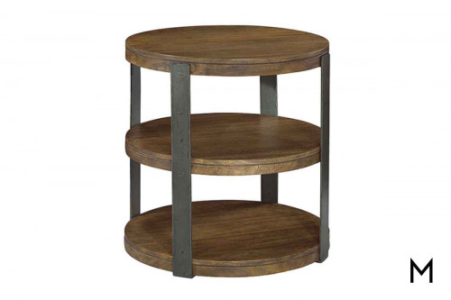Bedford Round End Table with three shelves