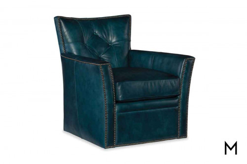 Conner Leather Swivel Club Chair with Button Tufted Back and Nailhead Trim