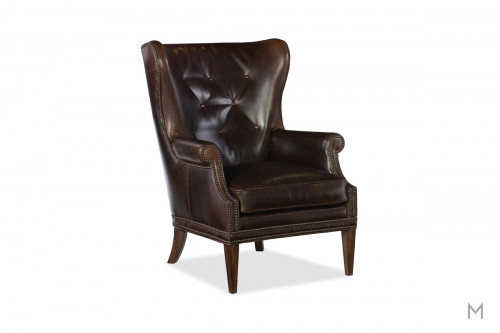 Maya Leather Wing Club Chair featuring Button Tufted Back and Nailhead Trim
