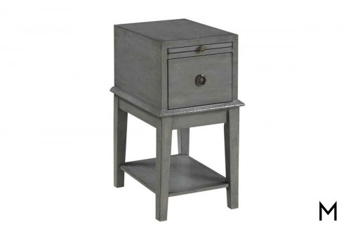 One Drawer Chairside Table in Joplin Textured Gray