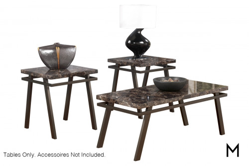 Paintsville Coffee Table Set in Bronze and Faux Marble