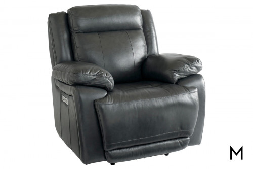 Wallsaver Leather Power Recliner in Granite