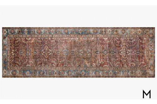 Layla Runner Rug in Brick and Blue